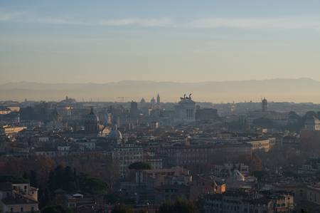 an overview: City overview at sunrise, Rome , Italy