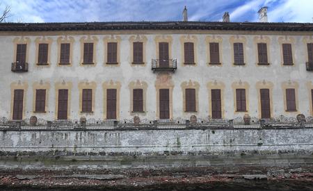 borromeo: ROBECCO, ITALY - FEBRUARY 22, 2016: Villa Gaia aka Villa Borromeo Visconti Biglia Confalonieri Gandini, ancient XIV aristocratic building, the facade on Naviglio grande navigable canal since 1272 A.D.