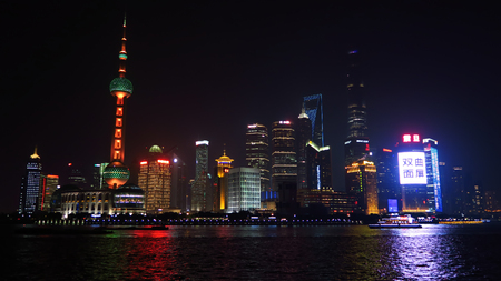 oriental pearl tower: SHANGHAI, CHINA - JANUARY 19, 2016: Shanghai Skyline at night, Pudong, Huangpu River, Oriental Pearl Tower, Jin Mao Tower, Shanghai International Finance Centre, Shanghai World Financial Center Editorial