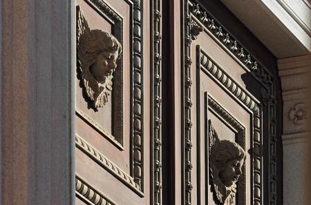 main gate: Main Gate of the Duomo or Santa Maria Assunta Cathedral in Novara, Italy
