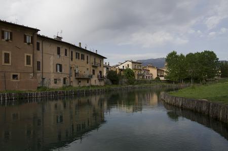 rieti: Velino river near the ancient Roman bridge Ponte Romano, Rieti, Italy