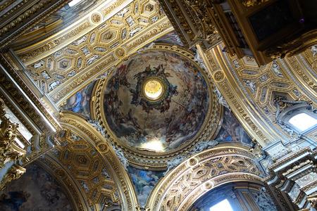 chiesa: ROME, ITALY - APRIL 19, 2016: Baroque ceiling  in the Santa Maria in Vallicella aka Chiesa Nuova