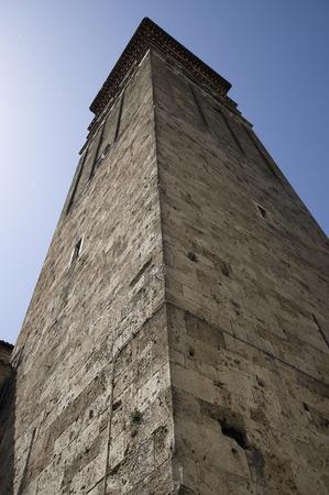the campanile: Rieti, Italy. The Torre Campanaria (bell tower, Campanile) of the Duomo di Rieti. Built by mastro Andrea, mastro Pietro and mastro Enrico in 1252