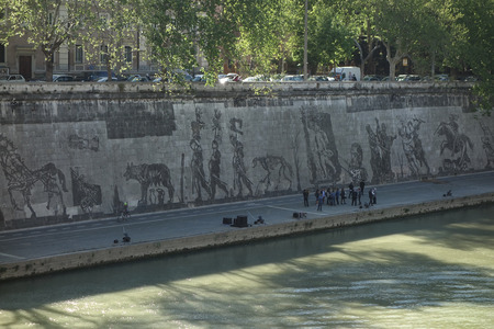 frieze: ROME, ITALY - APRIL 19, 2016: South African artist William Kentridge unveils Triumphs and Laments, a 550-meter (1,804 feet) frieze along the embankment of Tiber River Editorial