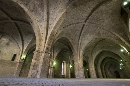 rieti: colonnade  of the medieval Palace of the Popes, Rieti, Italy