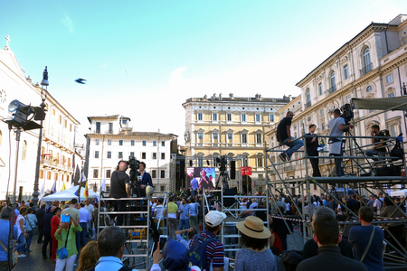 liberties: ROME, ITALY - MAY 21, 2016: Marco Pannella funerary commemoration in Navona Square, the Italian Politician died at the age of 86 was a Champion of Civil Liberties
