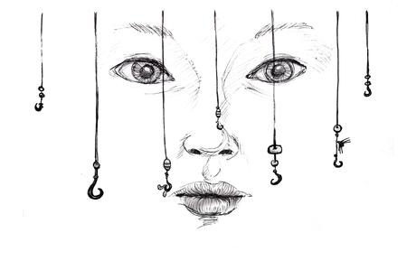 decoy: lure concept, pencil  sketch illustration over white