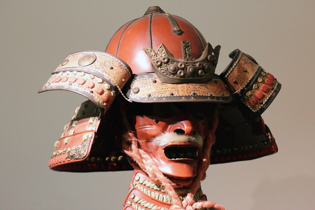 ancient japanese: ancient Japanese samurai armour , scary warrior mask