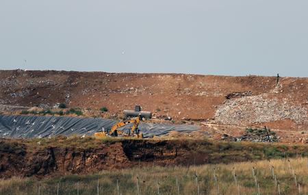 landfill site: COLLEFERRO, ITALY - JULY 10, 2016: Colle Fagiolara landfill site in the municipality of Colleferro (Province of Rome) Editorial