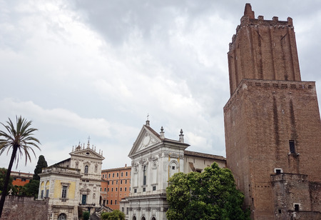 Tower of the Militia and Santa Caterina a Magnanapoli church in Rome, Italy