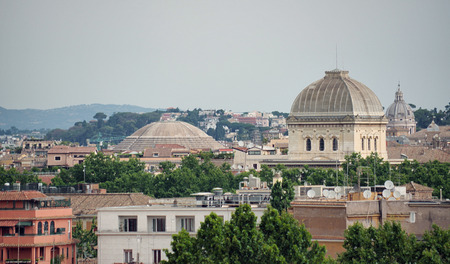 synagogue: synagogue and pantheon dome overview, Rome , Italy Stock Photo
