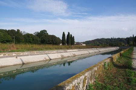 river banks: Canal Virgilio along the Mincio river banks, Lombardy, Italy Stock Photo