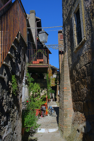 Street in Calcata, ancient Village in Italy Stock Photo