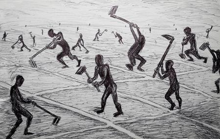 slavery hard work concept  illustration