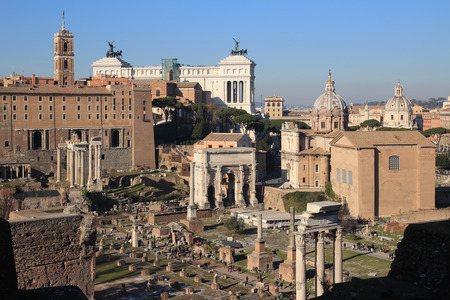 view of Rome from the Palatine Stock Photo