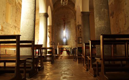 TARQUINIA, ITALY - JANUARY 5, 2017: interior of the medieval Church of St. Martino
