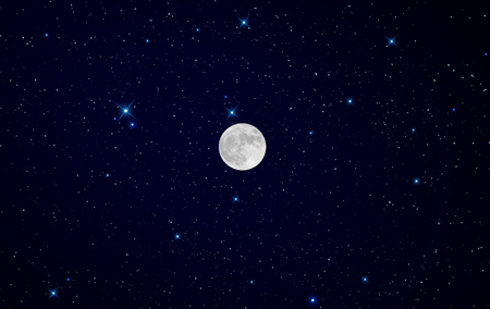 nite: Super Moon over starry night graphic background Stock Photo