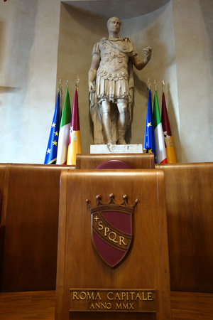 ROME, ITALY - JANUARY 29, 2017: detail of the Aula Giulio Cesare in the Palazzo Senatorio , the seat of Rome Council