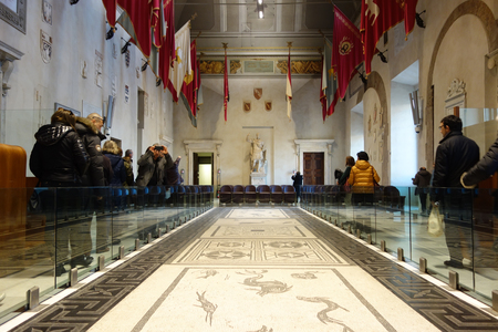 ROME, ITALY - JANUARY 29, 2017: People in the Aula Giulio Cesare , Palazzo Senatorio  is the seat of the Roman Council