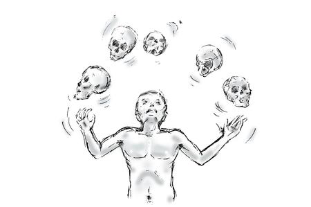 juggler with skulls, death concept Illustration over white Stock Photo