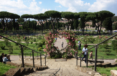 ROME, ITALY -  MAY 25, 2017: Rome Rose Garden public park located next to the Circus Maximus on the Aventine Hill Editöryel