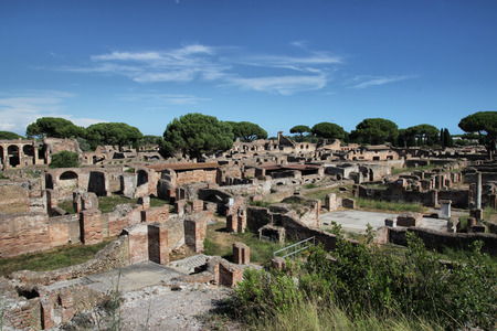 OSTIA ANTCA, ITALY -  JULY  2, 2017: remains of Ancient Ostia town built on both the sea and the Tiber river near Rome, this special position determined its relevance. Editöryel