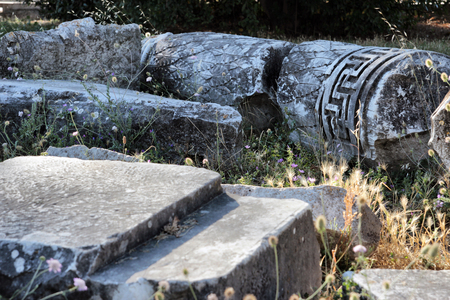 Ancient Roman ruins detail in Ostia, Rome, Italy Stock Photo
