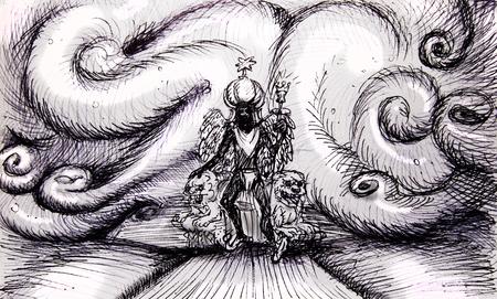 prestige: Imperial prestige concept, pencil sketch Illustration