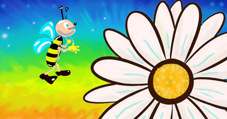 happy bee and daisy flower illustration