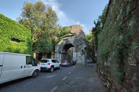 ROME, ITALY -  MAY  30, 2017: traffic jam on the Appian Way,  one of the  strategically most important Ancient Roman roads  Editorial