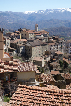 Marcetelli medieval town with its 92 residents, turned out to be the smallest municipality per number of inhabitants in the province of Rieti , Italy Stock Photo