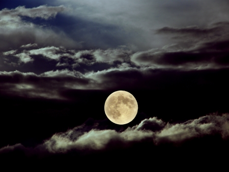moonlit: full moon with clouds Stock Photo