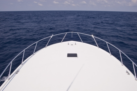 Bow of Charter Fishing Boat Imagens