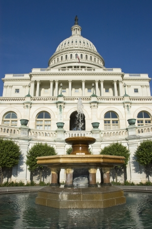 United States Capitol Building with Fountain Stock Photo