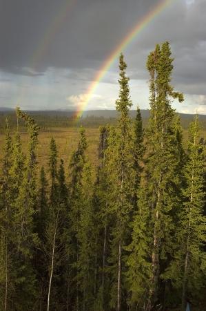 Een dubbele regenboog over een Ukon Territory veld