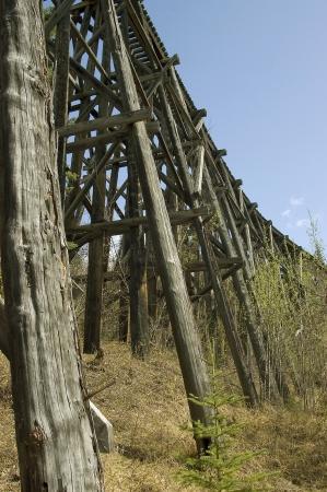 Een oude, verlaten spoorweg tressel met ondergroei Stockfoto