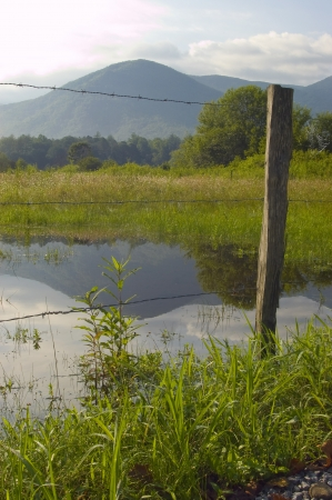 Mountain reflected in pond in the middle of a field with fence in forground Stock Photo - 17008457