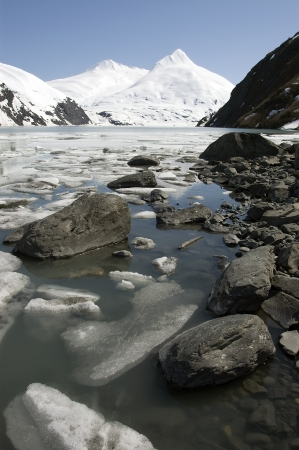 portage: Stones, ice and snow capped mountains