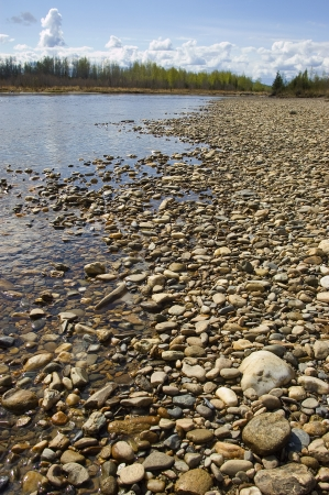 river bed: Alaskan river bed with smoothed river rock Stock Photo