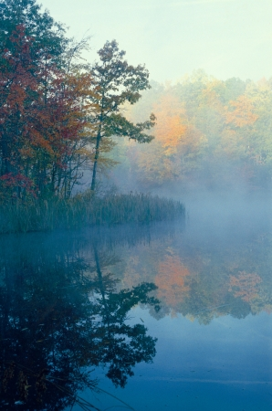 Smal pond with trees in fall color reflecting Stock Photo - 17329000