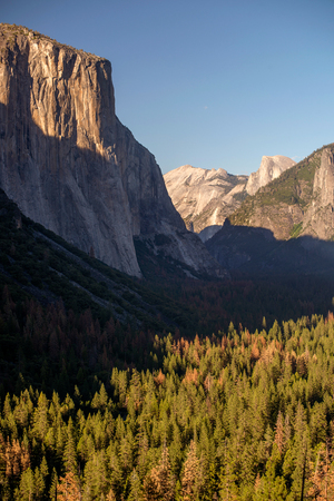 Half Dome and El Capitan in Yosemite National Park Stock Photo