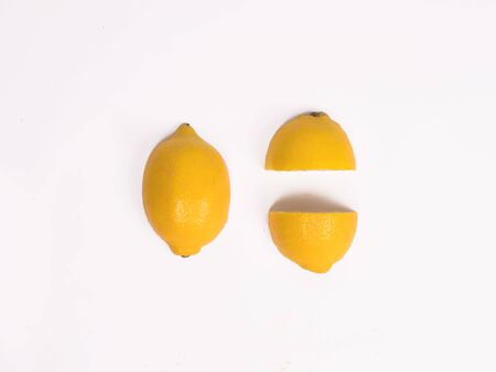 A lemon with a white background