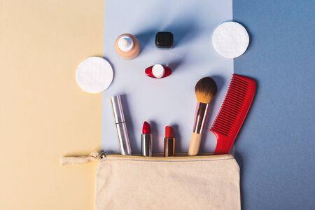 make up stuff on a blue background