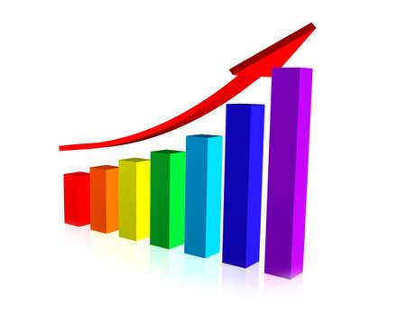 3D Business Graph, Upward Trend