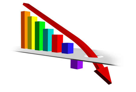 Bar Chart with Downward Trend Stock Photo - 7628936