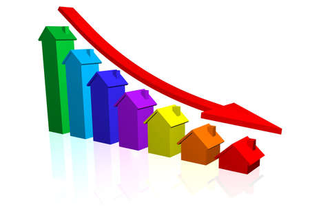 House Price Bar Chart with Downward Trend