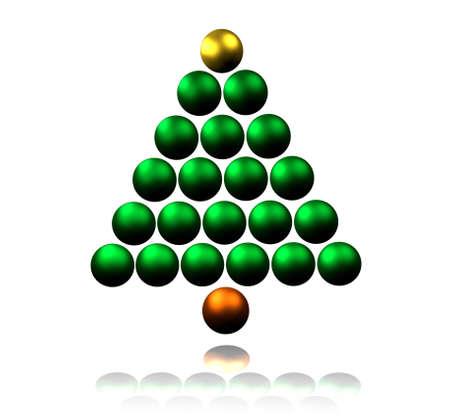 Abstract Christmas Tree made of Shiny Baubles Stock Photo