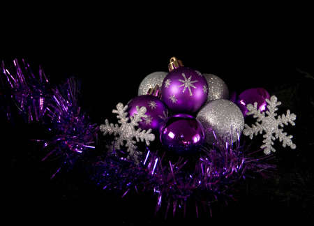 Shiny Christmas Baubles and Decorations Stock Photo