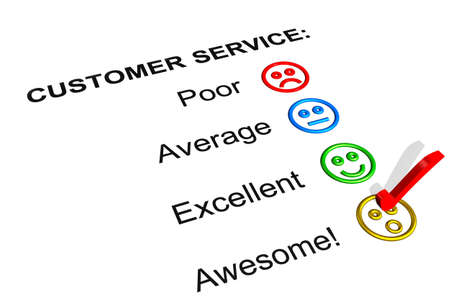 excellent background: Customer Service Feedback Form Showing an Awesome Rating Stock Photo