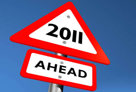 Road Sign Indicating 2011 Ahead Stock Photo